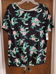 NWT OLD NAVY TROPICAL PRINT TIE-UP TOP